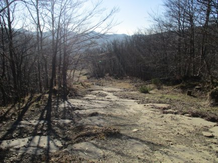 Part of the old paved road